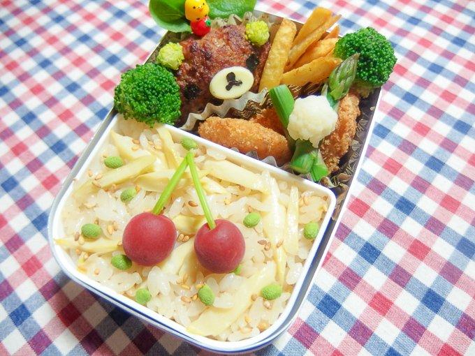 みなさん、こんばんわぁ♪笹竹の炊き込みご飯のお弁当❤と…