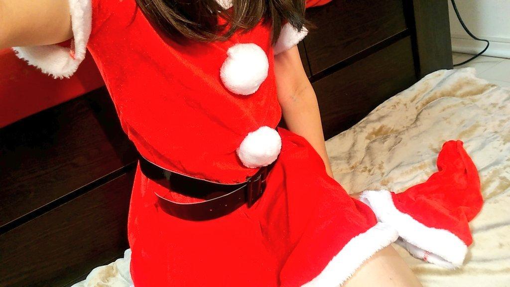 サンタ服着ちゃいました!ミニワンピです!モコモコで可愛い♪や…