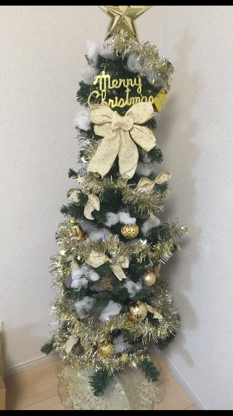 部屋にクリスマスツリーを設置したよー♪⊂((・⊥・))⊃1人で飾り付…