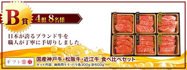 国産神戸牛・松阪牛・近江牛 食べ比べセット