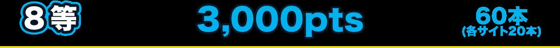 8等 3,000pts 60本(各サイト20本)
