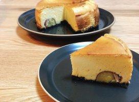 栗の渋皮煮を使って、チーズケーキ作ってみました‼ᥧ…